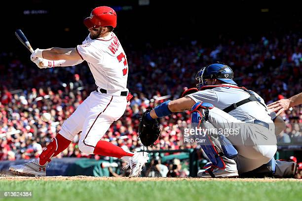 Bryce Harper of the Washington Nationals strikes out for the second out of the third inning against the Los Angeles Dodgers during game two of the...