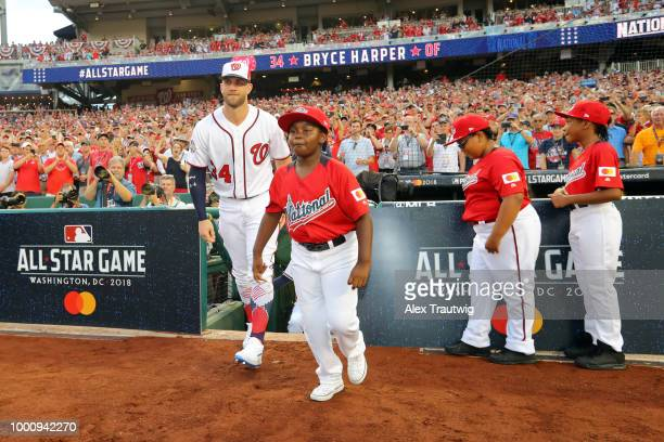 Bryce Harper of the Washington Nationals takes the field during player introductions prior to the 89th MLB AllStar Game at Nationals Park on Tuesday...