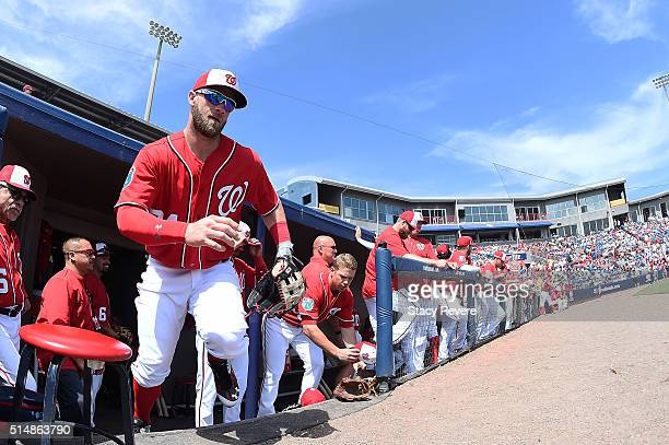 Bryce Harper of the Washington Nationals takes the field prior to a spring training game against the New York Mets at Space Coast Stadium on March 11...