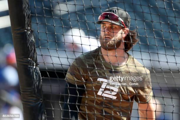 Bryce Harper of the Washington Nationals taking batting practice before the Washington Nationals Vs New York Mets MLB regular season game at Citi...