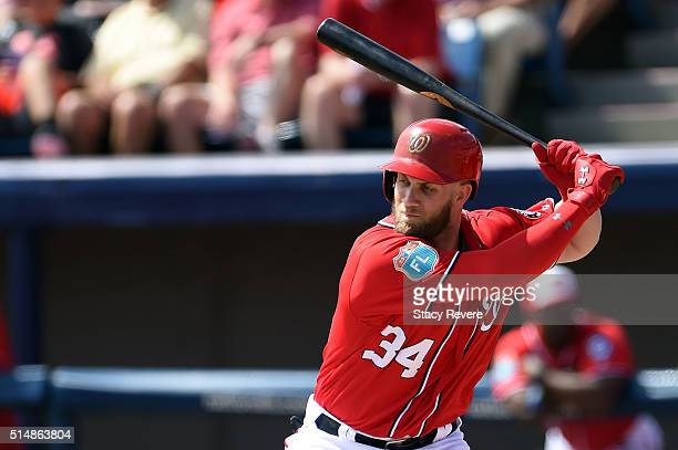Bryce Harper of the Washington Nationals waits for a pitch during the first inning of a spring training game against the New York Mets at Space Coast...