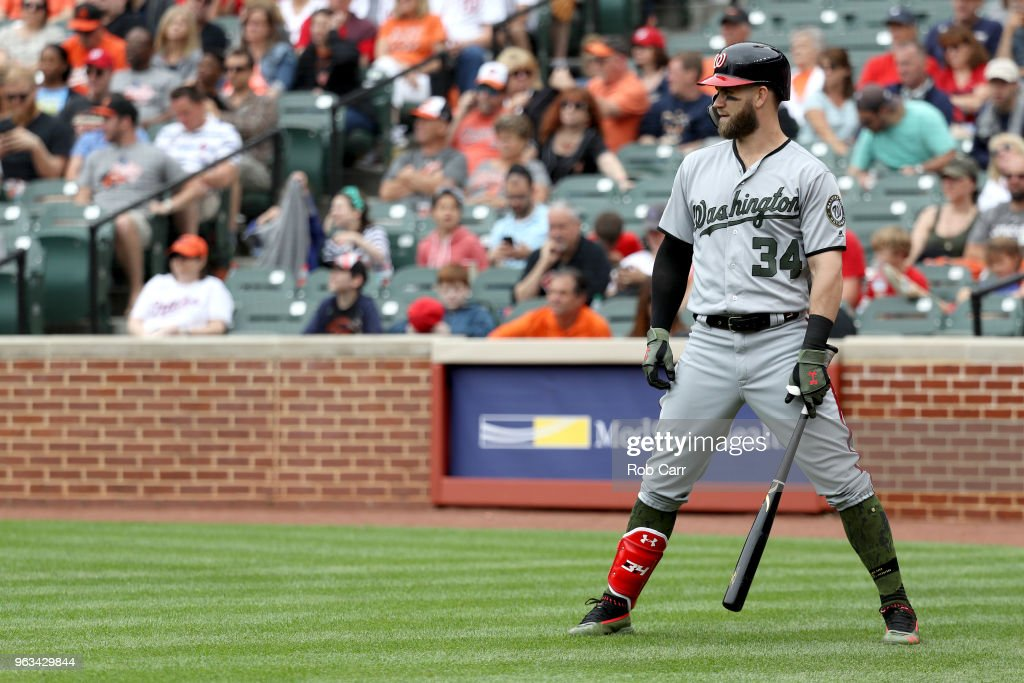 Bryce Harper #34 of the Washington Nationals waits to bat against the Baltimore Orioles at Oriole Park at Camden Yards on May 28, 2018 in Baltimore, Maryland. MLB players across the league are wearing special uniforms to commemorate Memorial Day.