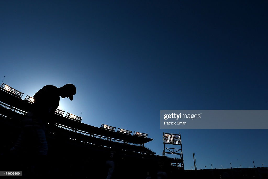 Bryce Harper #34 of the Washington Nationals walks out of the dugout in the seventh inning against the Philadelphia Phillies at Nationals Park on May 23, 2015 in Washington, DC. The Philadelphia Phillies won, 8-1.