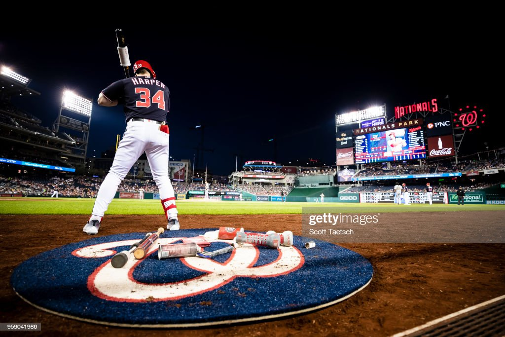 Bryce Harper #34 of the Washington Nationals warms up in the batters circle before hitting a three run home run against the Pittsburgh Pirates during the fifth inning at Nationals Park on May 1, 2018 in Washington, DC.