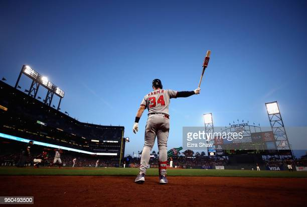 Bryce Harper of the Washington Nationals warms up on the ondeck circle before hitting in the third inning against the San Francisco Giants at ATT...