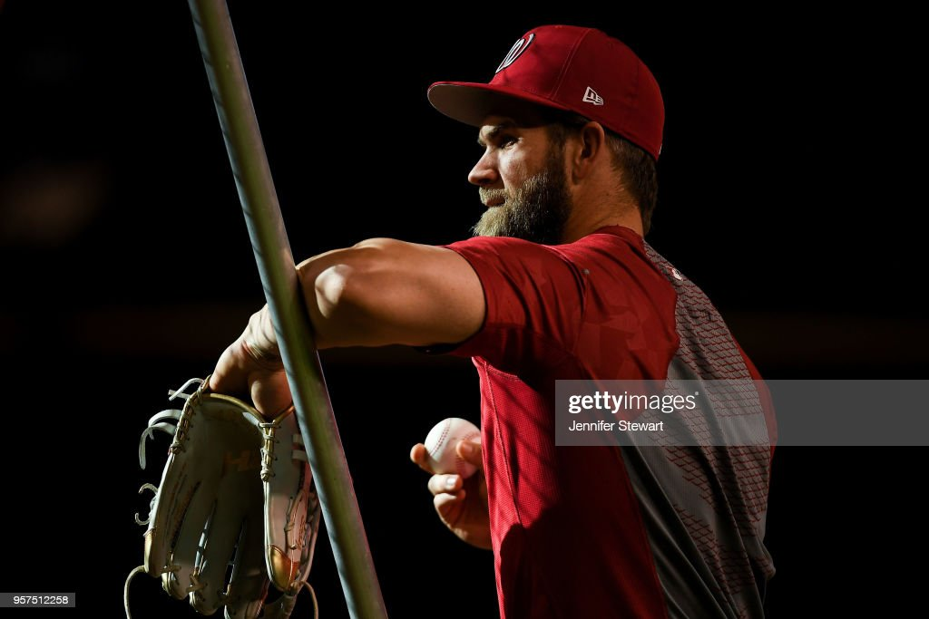 Bryce Harper #34 of the Washington Nationals warms up prior to the MLB game against the Arizona Diamondbacks at Chase Field on May 11, 2018 in Phoenix, Arizona.