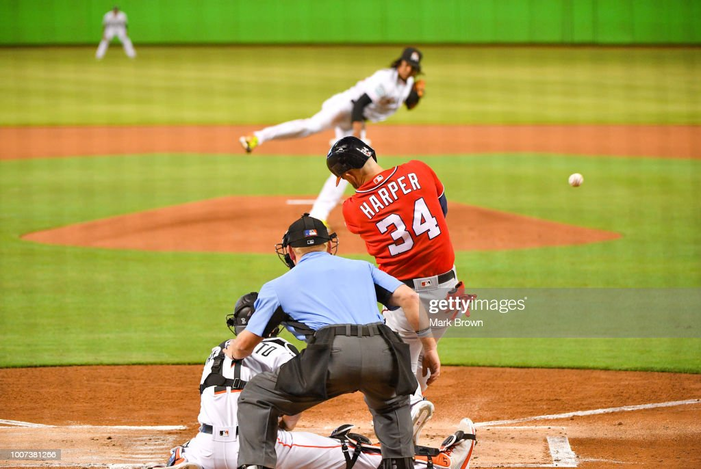 Bryce Harper #34 of the Washington Nationals with a single in the first inning against the Miami Marlins at Marlins Park on July 29, 2018 in Miami, Florida.