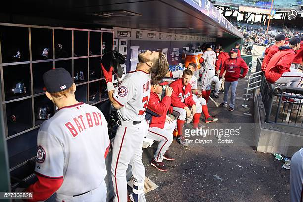 Bryce Harper Washington Nationals prepares to bat in the dugout during the New York Mets Vs Washington Nationals MLB regular season baseball game at...