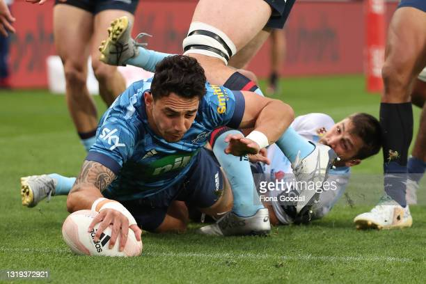 Bryce Heem of the Blues scores a try during the Super Rugby Trans-Tasman match between the Blues and the Waratahs at Eden Park on May 22, 2021 in...