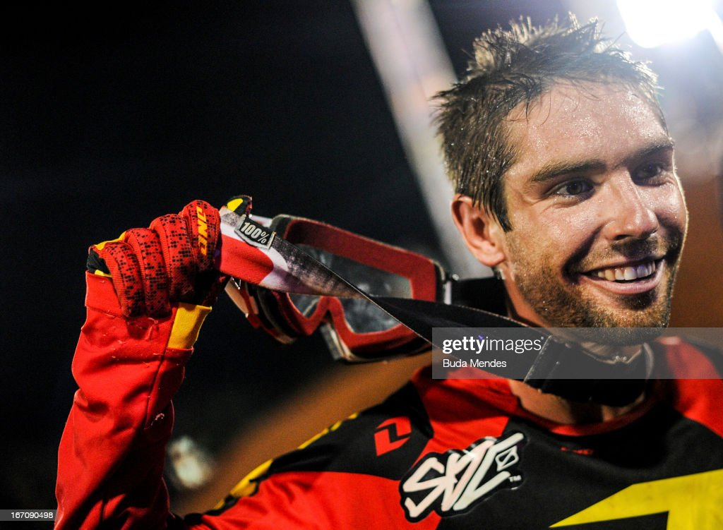 Bryce Hudson celebrates a victory during Moto X Step Up at the X Games on April 19, 2013 in Foz do Iguacu, Brazil.