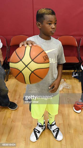 Bryce James son of LeBron James of the 2015 USA Basketball Men's National Team dribbles a ball during a practice session at the Mendenhall Center on...