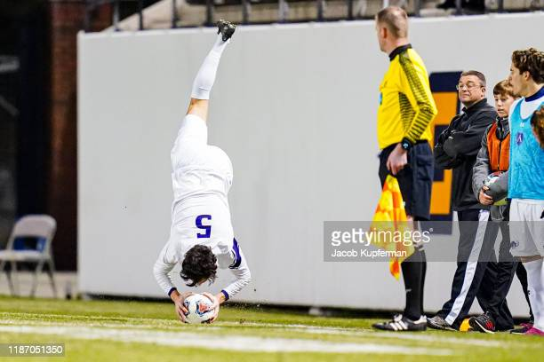 Bryce Johnson of Amherst Mammoths throws in the ball during the Division III Men's Soccer Championship held at UNCG Soccer Stadium on December 7 2019...