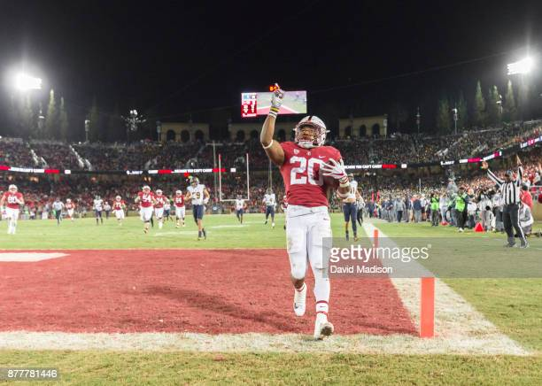 Bryce Love of the Stanford Cardinal celebrates a 57 yard touchdown run during the annual Big Game against the California Golden Bears played November...