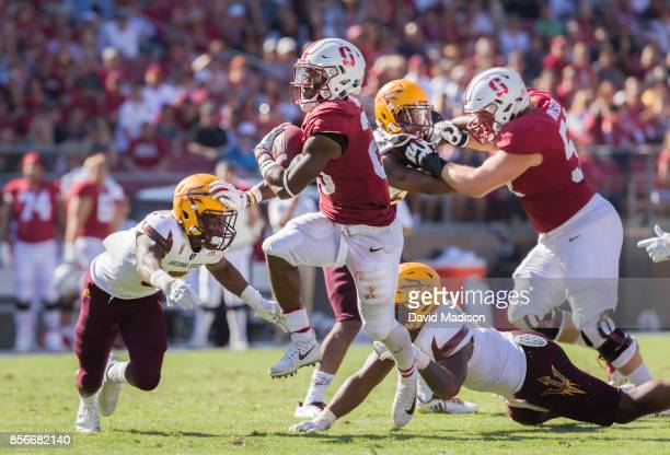 Bryce Love of the Stanford Cardinal runs with the ball during an NCAA Pac12 football game against the Arizona State University Sun Devils on...