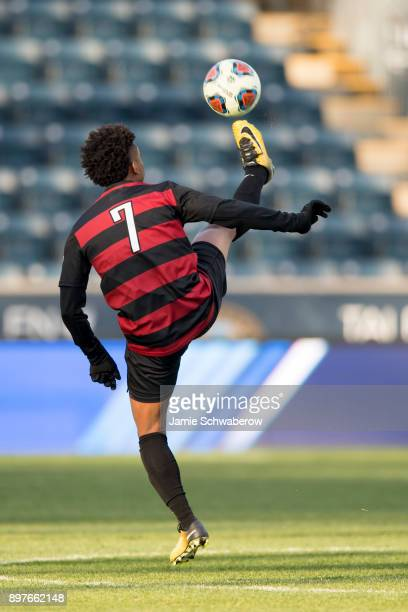 Bryce Marion of Stanford University controls the ball against Indiana University during the Division I Men's Soccer Championship held at Talen Energy...