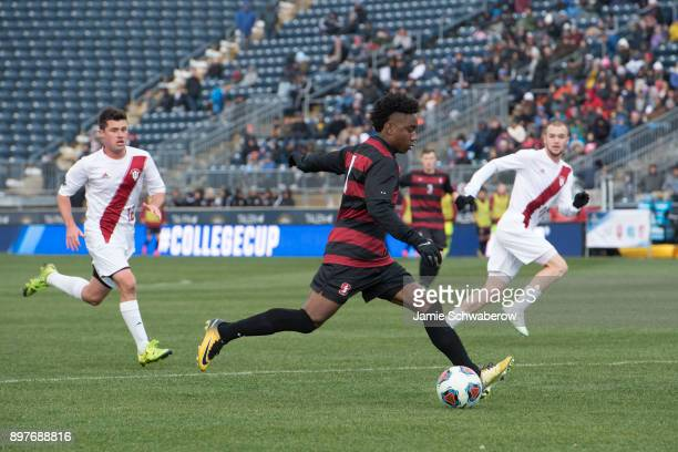 Bryce Marion of Stanford University takes a shot against Indiana University during the Division I Men's Soccer Championship held at Talen Energy...