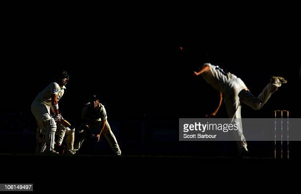 Bryce McGain of the Bushrangers bowls to Travis Birt of the Tigers during day three of the Sheffield Shield match between the Victorian Bushrangers...