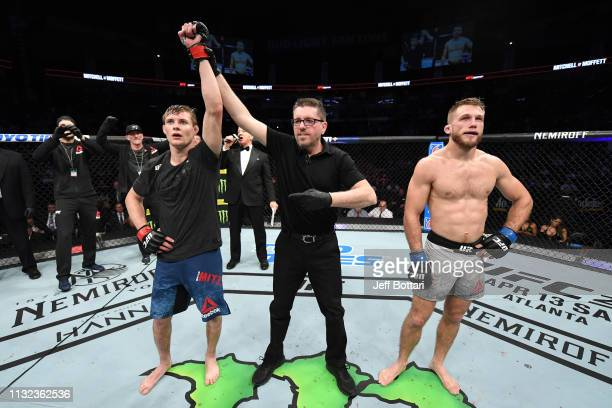 Bryce Mitchell celebrates his victory over Bobby Moffett in their featherweight bout during the UFC Fight Night event at Bridgestone Arena on March...
