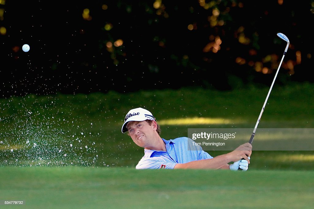 Bryce Molder chips in for birdie out of the trap on the eighth green during the Second Round of the DEAN & DELUCA Invitational at Colonial Country Club on May 27, 2016 in Fort Worth, Texas.
