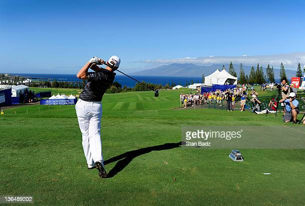 Bryce Molder hits the first shot of the PGA TOUR season from the first tee box during the first round of the Hyundai Tournament of Champions at...