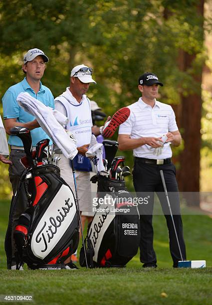 Bryce Molder of the United States and Brendan Steele of the United States wait on the 18th tee during the third round of the Barracuda Championship...