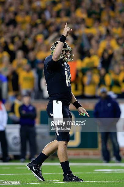 Bryce Petty of the Baylor Bears reacts after Baylor scored a touchdown against the Kansas State Wildcats during the first half of the game on...