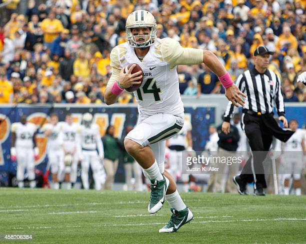 Bryce Petty of the Baylor Bears rushes during the game against the West Virginia Mountaineers on October 18 2014 at Mountaineer Field in Morgantown...