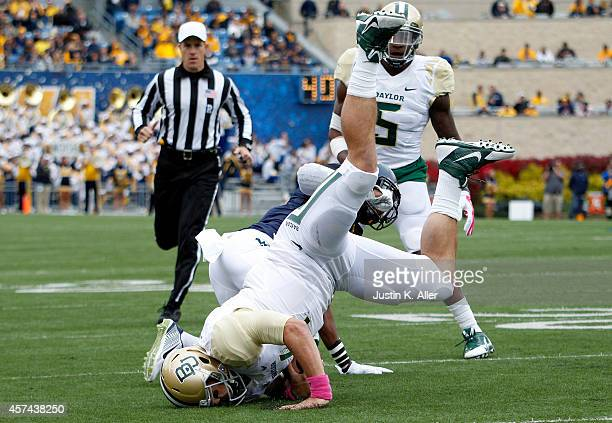 Bryce Petty of the Baylor Bears rushes in the first half against the West Virginia Mountaineers during the game on October 18 2014 at Mountaineer...
