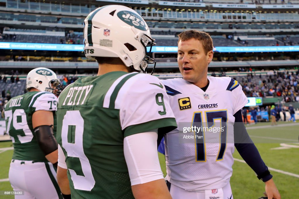 Bryce Petty #9 of the New York Jets and Philip Rivers #17 of the Los Angeles Chargers converse following Chargers' 14-7 win at MetLife Stadium on December 24, 2017 in East Rutherford, New Jersey.