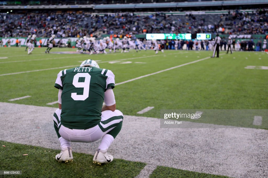 Bryce Petty #9 of the New York Jets looks on in the fourth quarter during the Jets' 7-14 loss to the Los Angeles Chargers during their game at MetLife Stadium on December 24, 2017 in East Rutherford, New Jersey.
