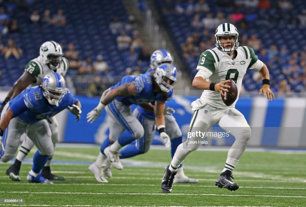 Bryce Petty #9 of the New York Jets scrambles for a first down during the fourth quarter of the preseason game against the Detroit Lions on August 19, 2017 at Ford Field in Detroit, Michigan. The Lions defeated the Jets 16-6.