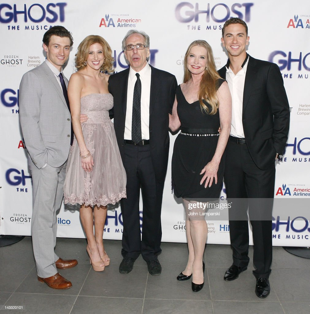 Bryce Pinkham, Caissie Levy, Jerry Zucker, Lisa Niemi and Richard Fleeshman attend the after party for the Broadway opening night of 'Ghost, The Musical' at Tunnel on April 23, 2012 in New York City.