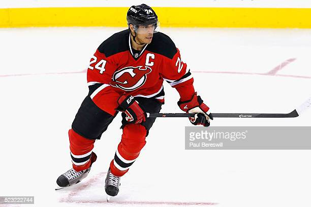 Bryce Salvador of the New Jersey Devils plays in the game against the Winnipeg Jets at Prudential Center on October 30 2014 in Newark New Jersey