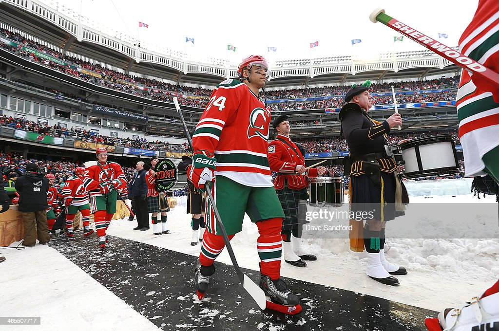 Bryce Salvador of the New Jersey Devils walks toward the