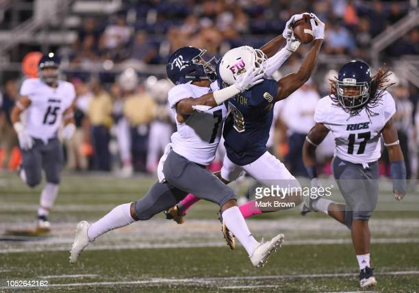 Bryce Singleton of the FIU Golden Panthers attempts to make a catch in the first half against the Rice Owls at Ricardo Silva Stadium on October 20...