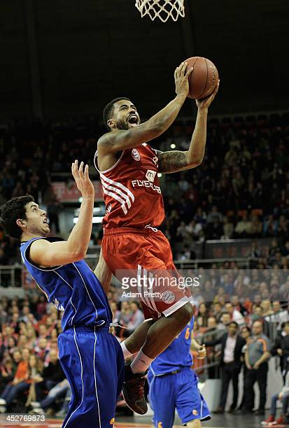 Bryce Taylor of Bayern goes for a lay up during the FC Bayern Muenchen v Mitteldeutscher BC Basketball match at AudiDome on December 1 2013 in Munich...