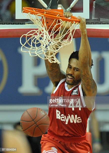 Bryce Taylor of FC Bayern Muenchen dunks the ball during the Beko BBL TOP FOUR Final match between FC Bayern Muenchen and ALBA Berlin at AudiDome on...