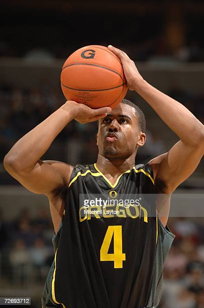 Bryce Taylor of the Oregon Ducks takes a foul shot during a college basketball game against the Georgetown Hoyas at Verizon Center on November 29,...