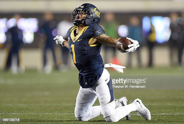 Bryce Treggs of the California Golden Bears reacts after catching a third down pass for a first down against the Arizona State Sun Devils late in the...