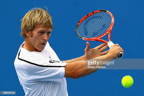 Brydan Klein of Australia plays a backhand during his match against Konstantin Kravchuk of Russia during 2011 Australian Open Qualifying at Melbourne...