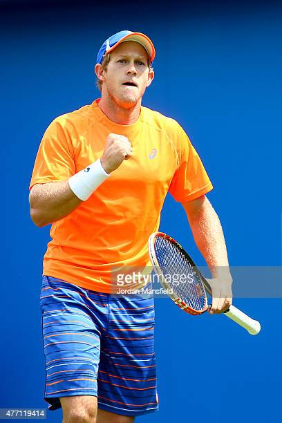 Brydan Klein of Great Britain celebrates winning a game during his Qualification match of the Aegon Championships against PaulHenri Mathieu of France...