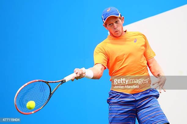 Brydan Klein of Great Britain plays a forehand during his Qualification match of the Aegon Championships against PaulHenri Mathieu of France at...