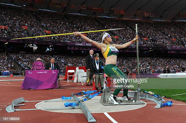 Brydee Moore of Australia competes in the Women's Javelin Throw - F52/53/33/34 Final on day 5 of the London 2012 Paralympic Games at Olympic Stadium...