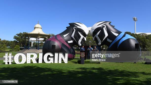 Brydens Lawyers NSW Blues coach Brad Fittler ,Maroons Coach Kevin Walters speak at Elder Park during the 2020 NRL State or Origin series launch at...