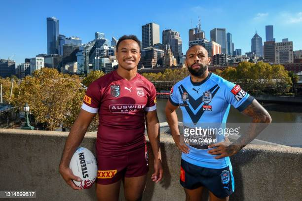 Brydens Lawyers NSW Blues Representative Josh Addo-Carr and Queensland Maroons Representative Felise Kaufusi pose during the 2021 State or Origin...