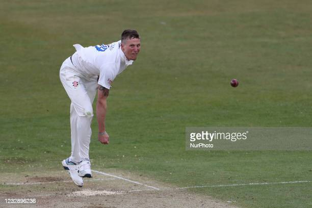 Brydon Carse of Durham bowling during the LV= County Championship match between Durham County Cricket Club and Worcestershire at Emirates Riverside,...