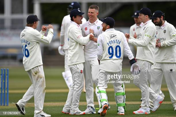 Brydon Carse of Durham celebrates taking the wicket of Paul Walter of Essex during the LV= Insurance County Championship match between Essex and...