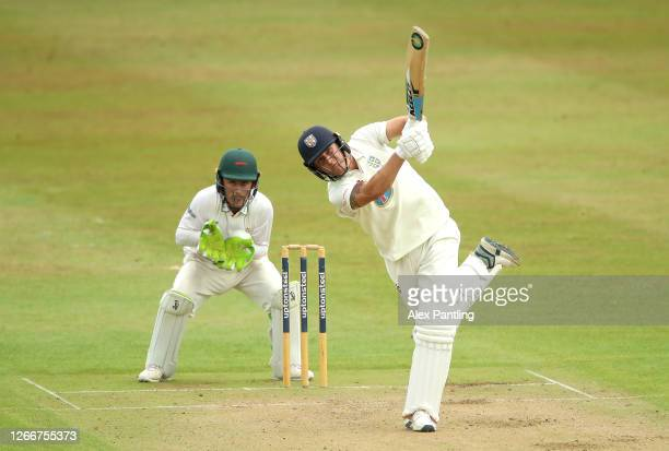 Brydon Carse of Durham hits a boundary during day three of the Bob Willis Trophy match between Leicestershire and Durham at at the Fischer County...