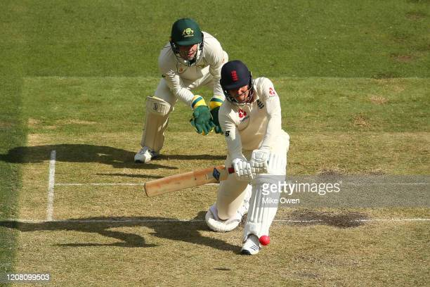 Brydon Carse of the England Lions bats during the Four Day match between Australia A and the England Lions at Melbourne Cricket Ground on February 23...