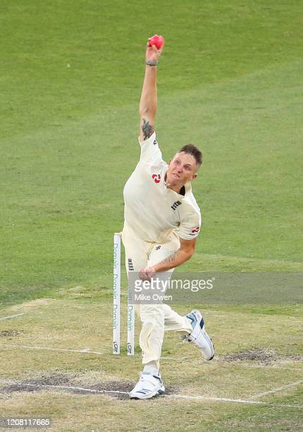 Brydon Carse of the England Lions bowls during the Four Day match between Australia A and the England Lions at Melbourne Cricket Ground on February...